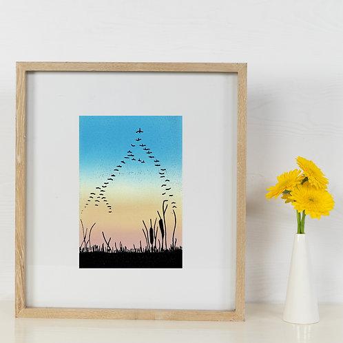 Migration - Lino Print