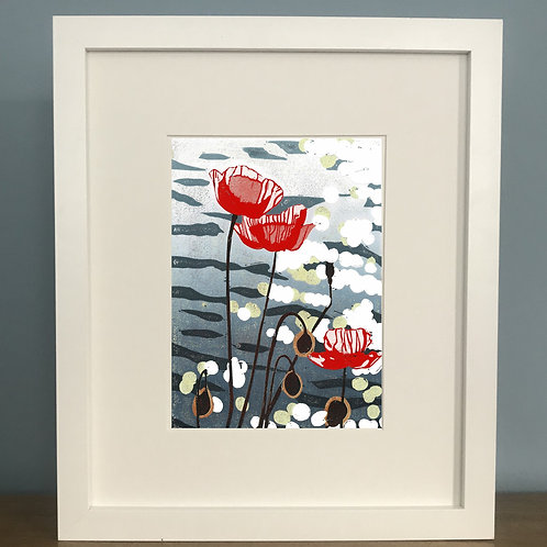 Limited Edition Reduction Lino Print | Poppies