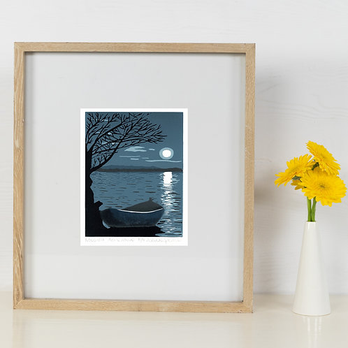 Limited Edition Reduction Lino Print | Moonlit Adventure