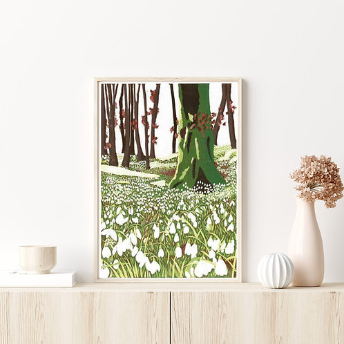 Limited Edition Reduction Lino Print | Snowdrop Woods