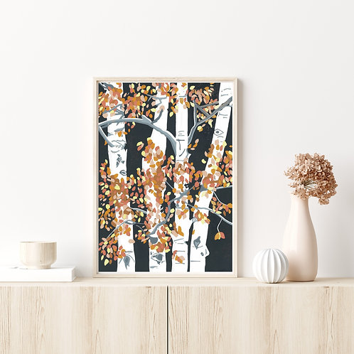 Limited Edition Reduction Lino Print | Autumn Birches Frame
