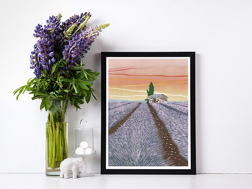 Lavender Field - Lino print