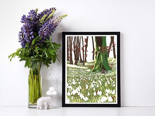 Snowdrop Woods - Lino print