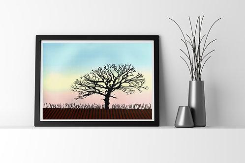 Lone Tree - Lino Print