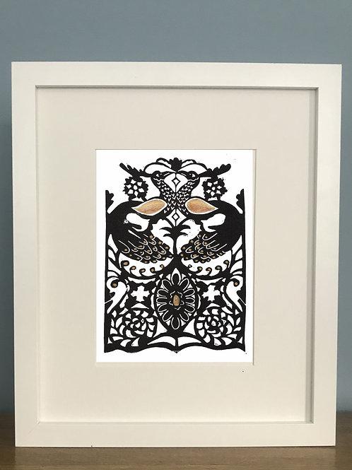 Limited Edition Lino Print and  Watercolour | Corsham Peacocks