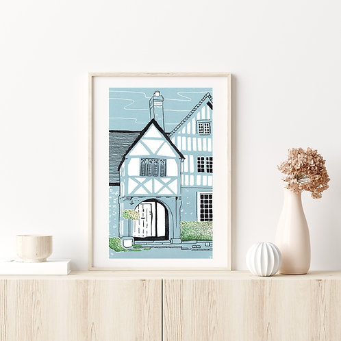 Limited Edition Lino Print and  Watercolour | Lacock Cottage