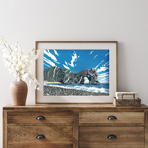 Framed Limited Edition Reduction Lino Print | Durdle Door