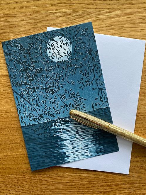 Blank Greetings Card | Silver Moon