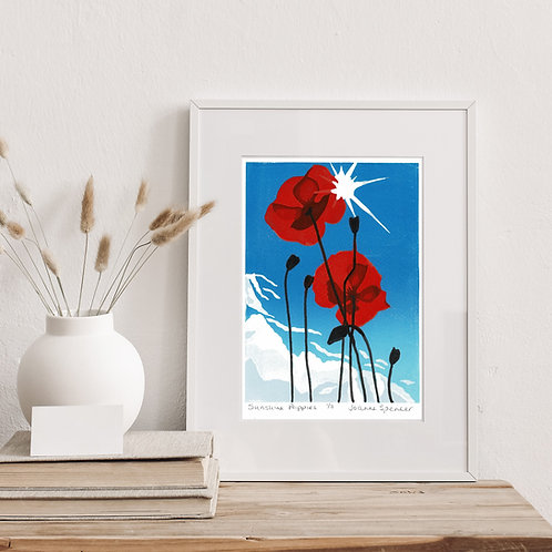 Limited Edition Reduction Lino Print | Sunshine Poppies