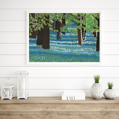 Limited Edition Reduction Lino Print | Bluebell Woods