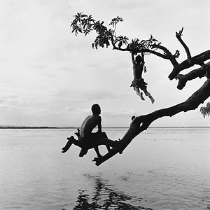 boy joyfully and playfully jumping to a tree branch in Burma/ Myanmar