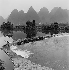 Martial artist in the Li River in China.