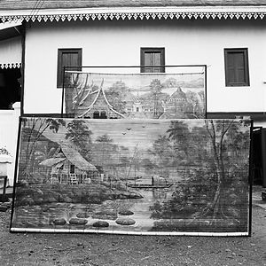hand-painted theater backdrop of traditional rural Lao/Laos scene near Luang Prabang
