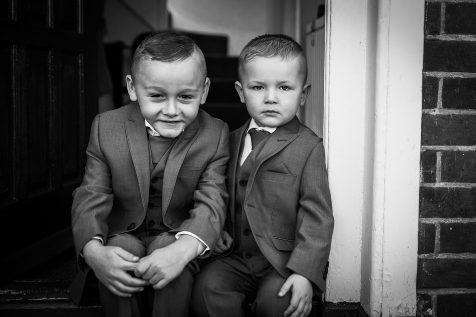 two cheeky little chaps waiting to leave for the wedding