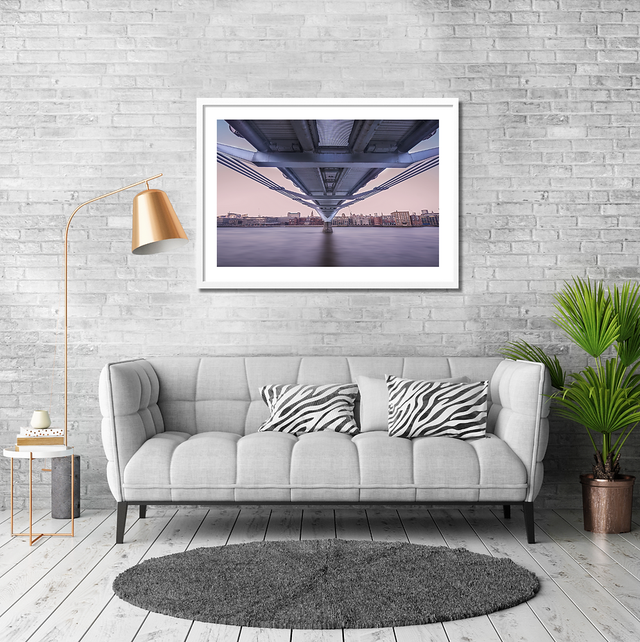 London wall art hanging in modern lounge with sofa