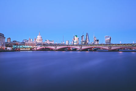 Business Photographer captures London City winter skyline with a view from down the river Thames