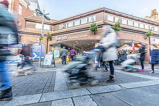 promotional photoshoot of busy high street and shopping centre