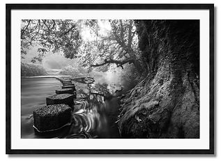 Black and white framed wall art of Stepping stones Boxhill in Surrey