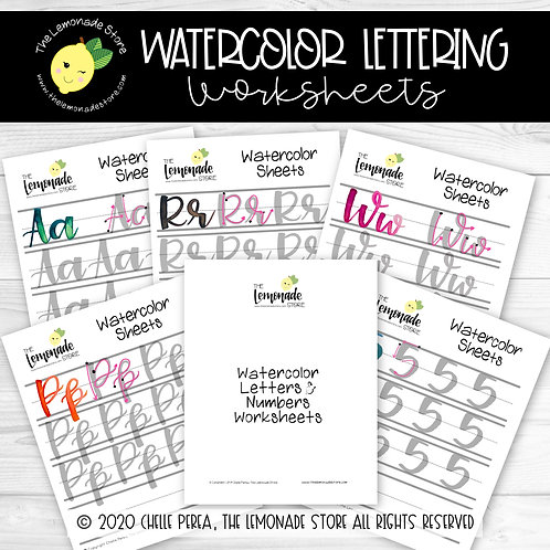 Watercolor Lettering Worksheets - Printable Practice Sheets