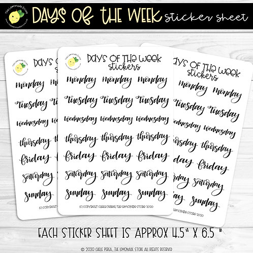 Days of the Week Hand Lettered Sticker Sheet