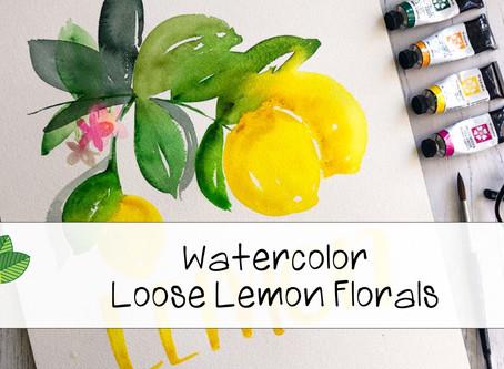 Watercolor Painting Loose Lemon Florals