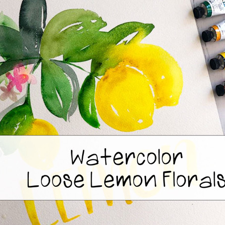 Watercolor Painting Loose Lemon Florals