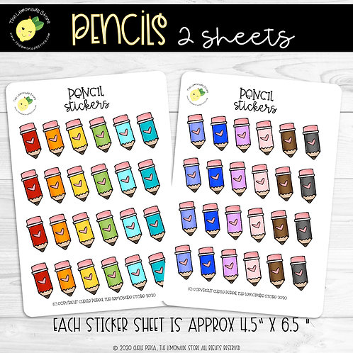 Pencil Rainbow Sticker Sheet Set