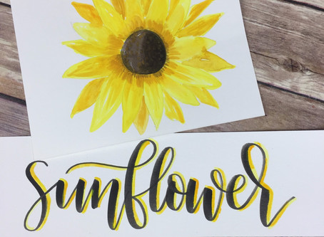 Sunflower Using Gouache