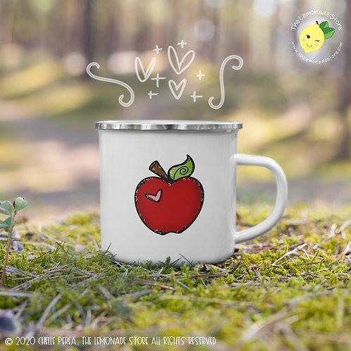 Cute Apple Mug - Hand Drawn Apple with Heart