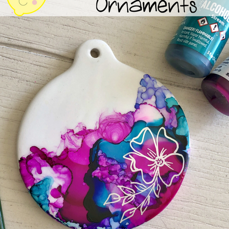 EASY Alcohol Ink Ceramic Ornaments