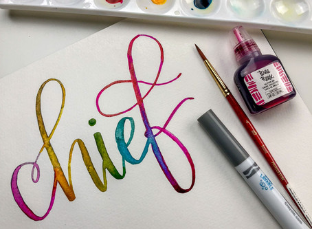 Practicing Some Watercolors Over Your Crayola Lettering