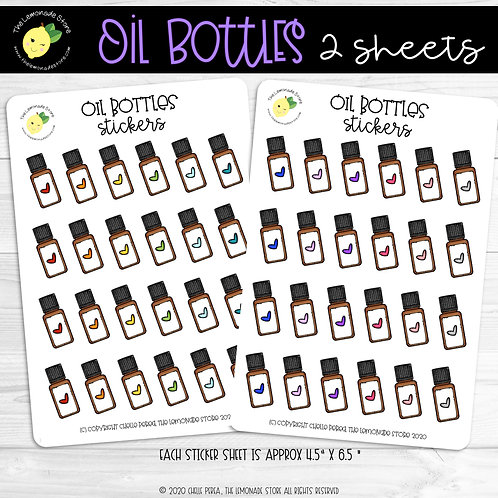 Essential Oil Bottle Stickers - Rainbow of Heart Accents, 2 Sheets
