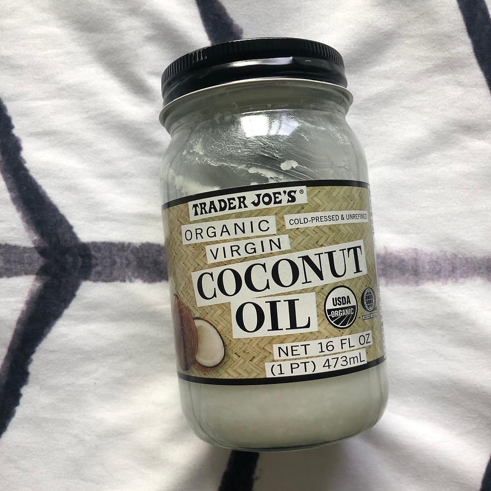 Jar of Trader Joe's Organic Virgin Coconut Oil