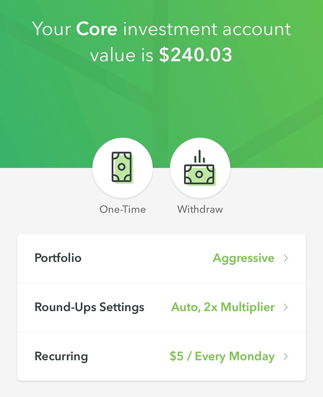 Acorns app screen  showing portfolio modificatons