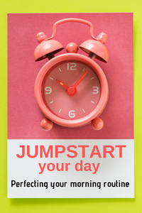 Pink alarm clock in morning depicting a jump started day