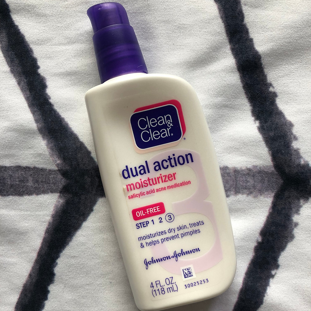 Bottle of Clean and Clear Dual Action Moisturizer