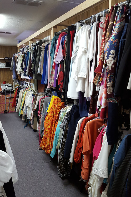 Gently used and new clothing, shoes, books and household items