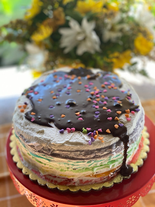 Birthday rainbow crepe cake