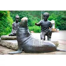 9 Bronze-children-boy-and-girl-playing.