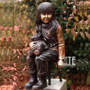 35 Garden-statue-molds-Bronze-Girl-Holdi
