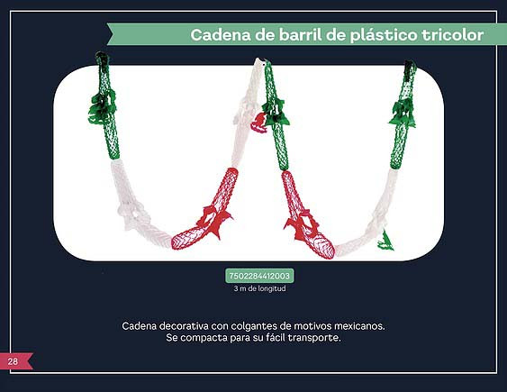 11 CADENA DE BARRIL DE PLASTICO TRICOLOR