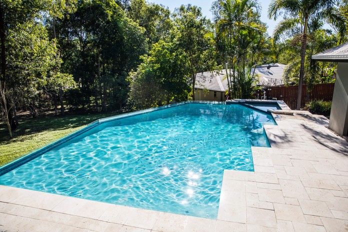 Swimming pool looks stunning after renovations.