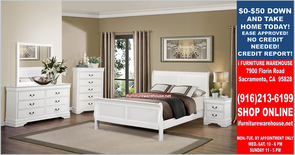IN STOCK 4PCS SLEIGHT WHITE  FULL BED, DRESSER, MIRROR, NIGHTSTAND.