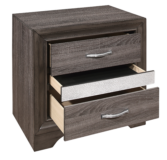 IN STOCK NEW_GRAY NIGHTSTAND WITH HIDDEN JEWELRY DRAWER.