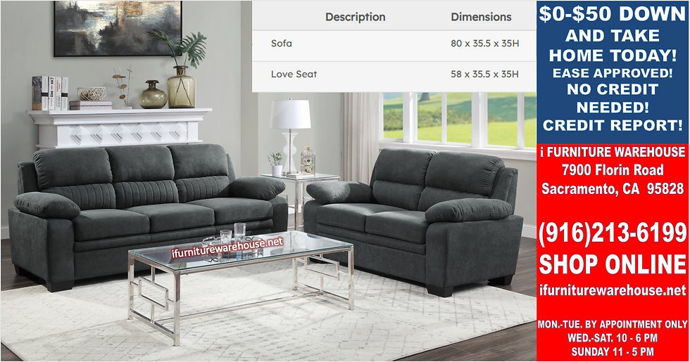 IN STOCK NEW_2PCS DARK GRAY 100% POLYESTER SOFA AND LOVESEAT.