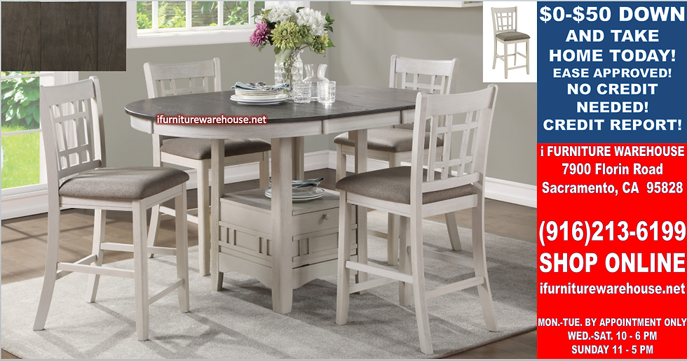 IN STOCK NEW_42X60 Oval Counter Height Dining Table & 4 Chair w/ Removable Leaf.