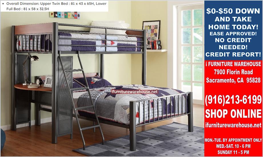 IN STOCK TWIN/FULL BUNK BED. GRAPHITE FINISH LOFT BED /W BUILD-IN COMPUTER DESK