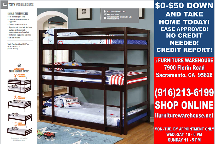 IN STOCK CAPPUCCINO TRIPLE TWIN/TWIN/TWIN BUNK BED ONLY.