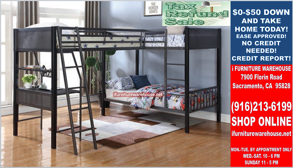 IN STOCK NEW_TRIPLE TWIN/TWIN/TWIN BUNK BED WITH DESK/ LOFT BED