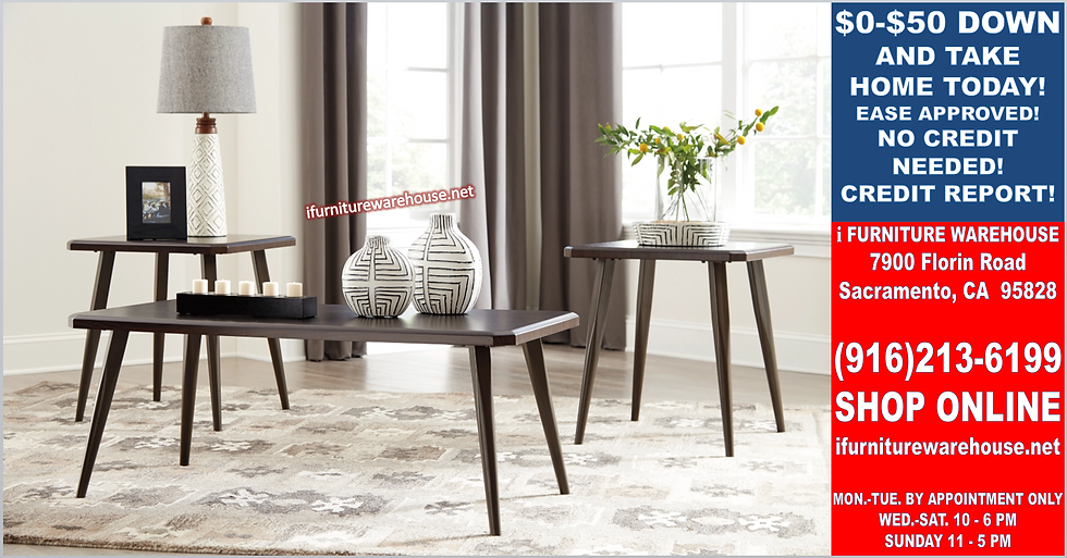 IN STOCK NEW_WOOD TOP DARK BROWN OCCASIONAL COFFEE TABLE AND 2 END TABLE